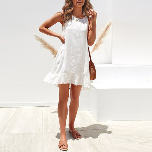 Casual Round Neck Sleeveless Ruffled Pleated Dress