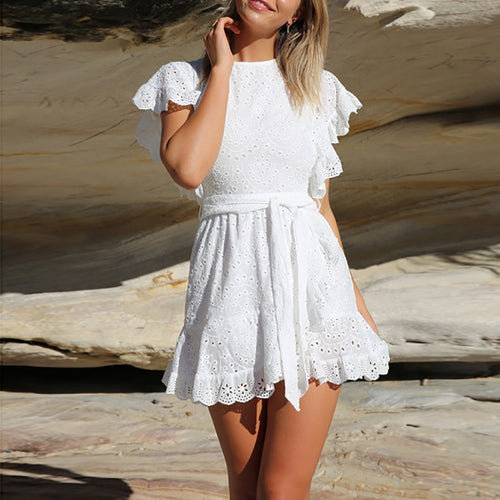 Elegant Ruffled Splicing Hollow See-Through Out Dress