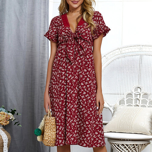 Commuting V Neck Printed Colour Short Sleeve Splicing Dress