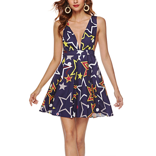 Fashionable Sexy Print Deep V Sleeveless Dress