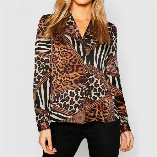 Sexy Leopard Print V-Neck Chiffon Long Sleeves Shirt