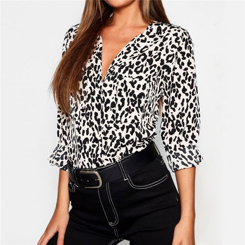 Sexy Leopard Print V-Neck Long Sleeve Shirt