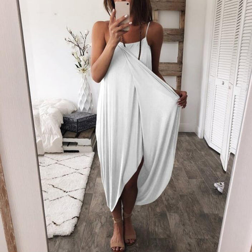 Sexy Solid Color Knit Loose Irregular Dress