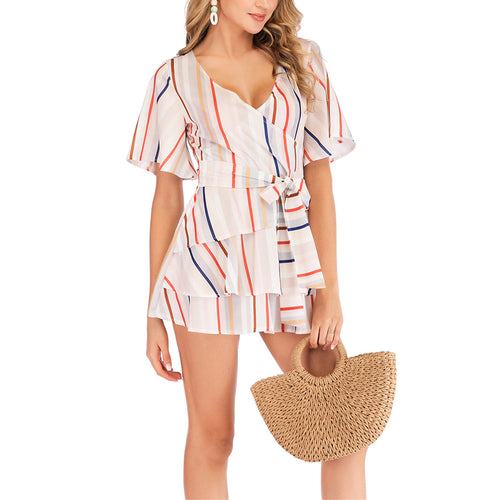 Sexy Stripe Print Bare Back Jumpsuits