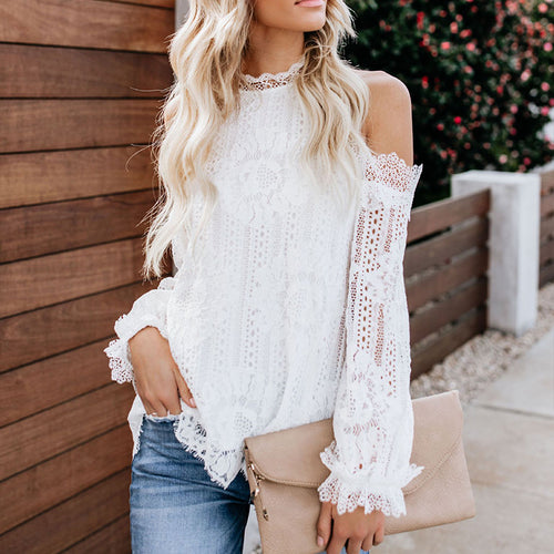 Sexy Solid Lace Bare Shoulders Shirt