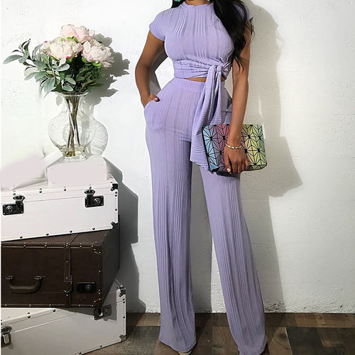 Fashionable Pure Color Casual Short Sleeves Long Pant Two Piece Suit
