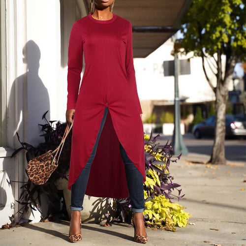 Stylish Solid Color Irregular Long Sleeves Dress