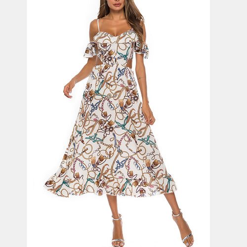 Sexy Printing Flounces Sling Dress