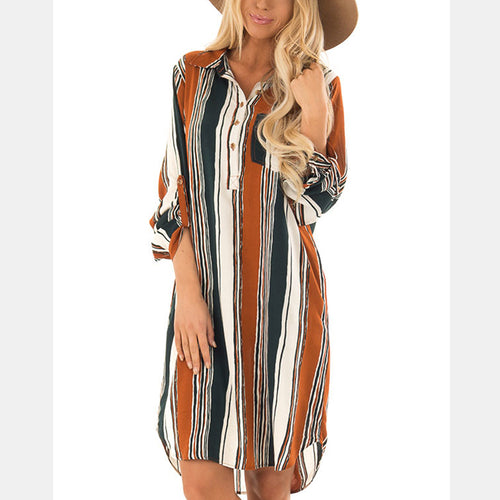 Sexy Striped Long Sleeves Shirt Dress