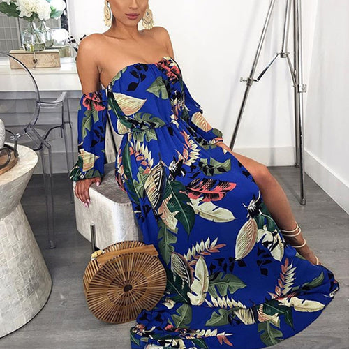 Sexy Off-The-Shoulder Print Dress