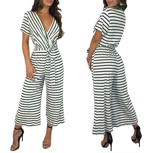 Sexy Striped Knit Casual V-Neck Short-Sleeved Jumpsuit