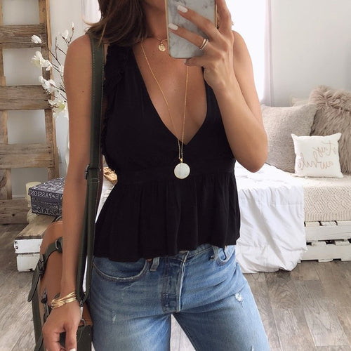 Fashionable Sexy Deep V Collar Solid Color Vest