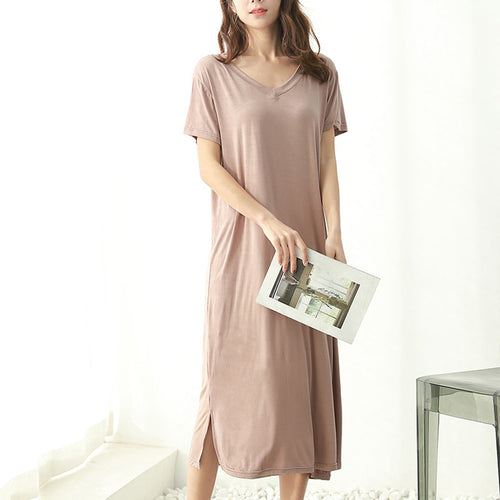 Sexy Fashion Pure Color Short Sleeve Dress