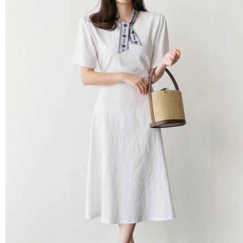 Fashion Vintage Solid Color Short Sleeves Dress