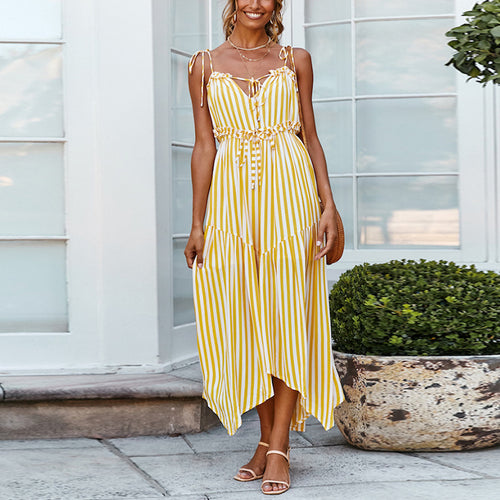 Sexy V-Neck Lace Sling Irregular Stripes Dress
