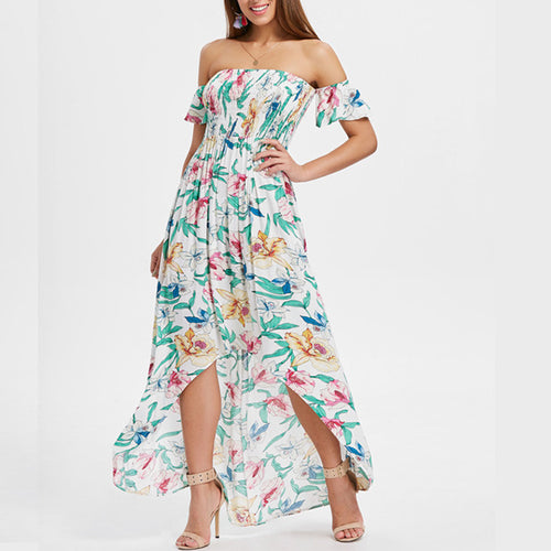 Sexy Off Shoulder Printed Short Sleeve Dress