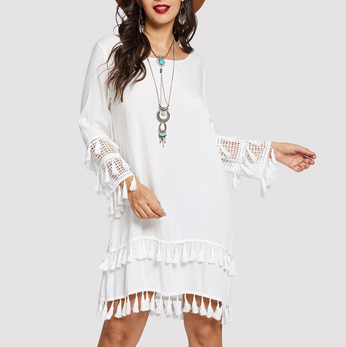 Commuting Tassel Round Neck Long Sleeve Splicing Dress