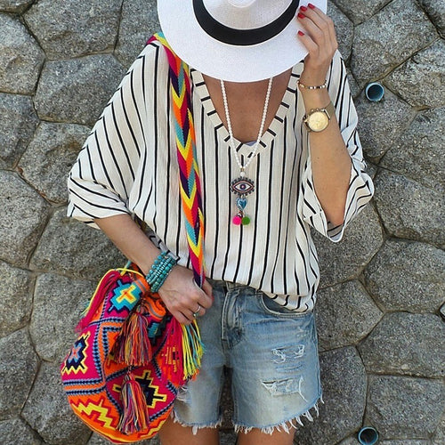 Fashionable Sexy Stripe V Collar Chiffon Shirt