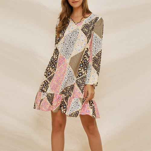 Commuting Printed Colour V Neck Ruffled Long Sleeve Dress