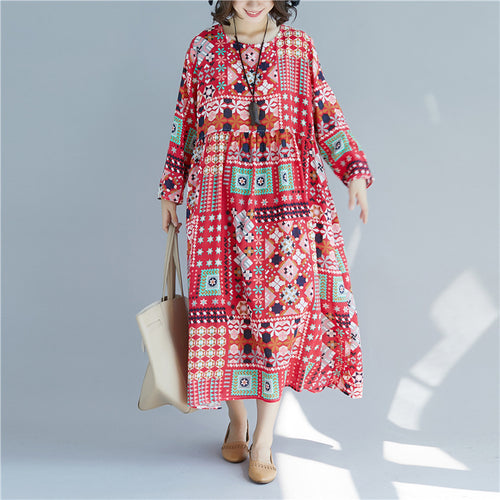 Fashion Retro Round Collar Print Dress