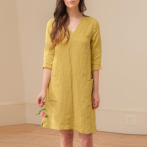 Fashion Solid Color Loose V Collar Casual Dress