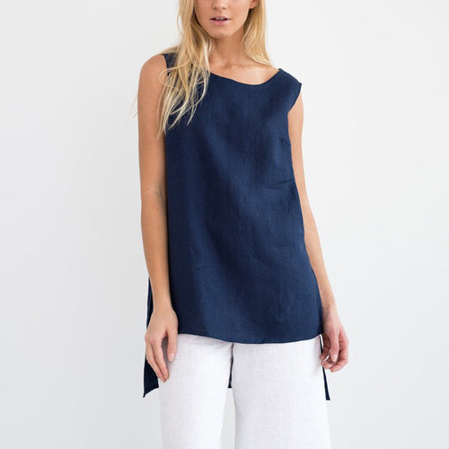 Fashion Solid Color Sleeveless Irregular T-Shirt