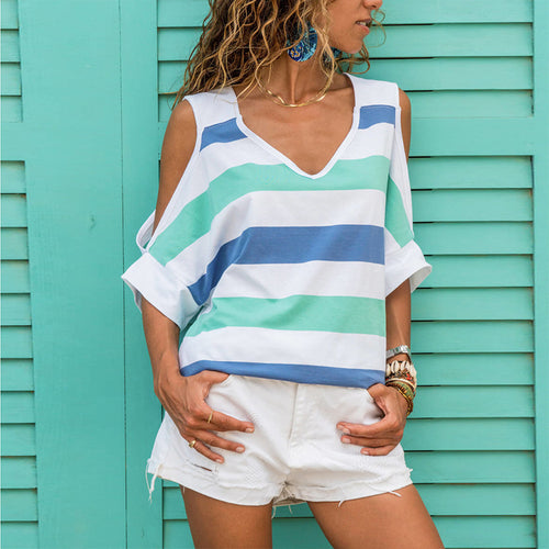 Stylish Casual Off-The-Shoulder Striped Short Sleeves T-Shirt