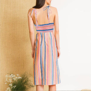 Sexy V-Neck Stripe Sling Dress