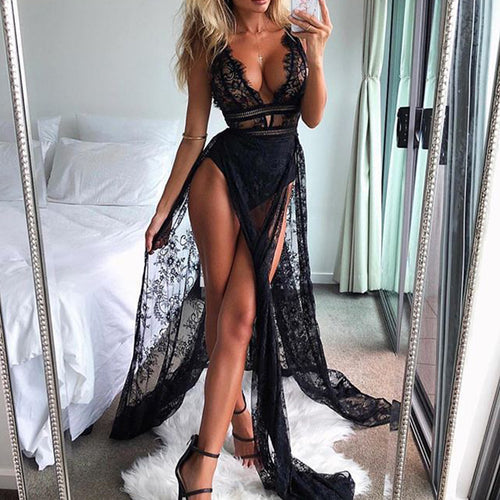 Sexy Pure Color Lace See-Through Deep V Sleeveless Dress