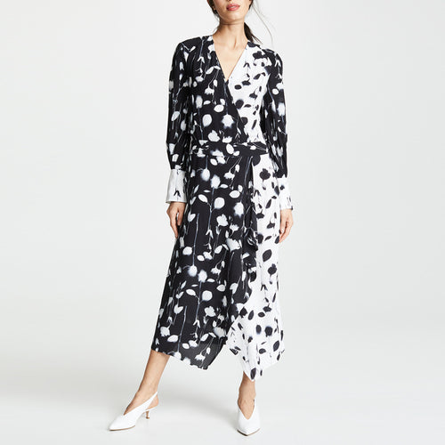 Sexy V-Neck Contrasting Color Long-Sleeve Print Dress