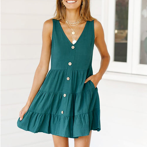 Sexy Solid Color Single Breasted Sleeveless Dress