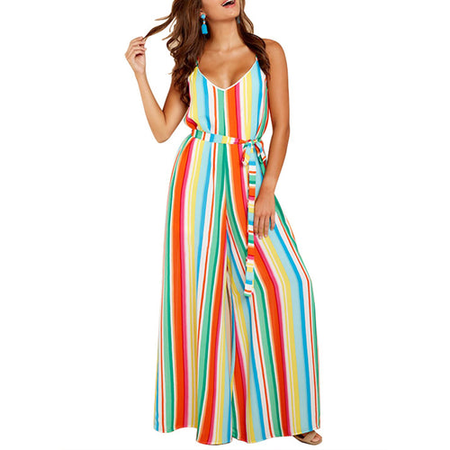 Sexy Fashion Loose Stripes Sling Jumpsuits