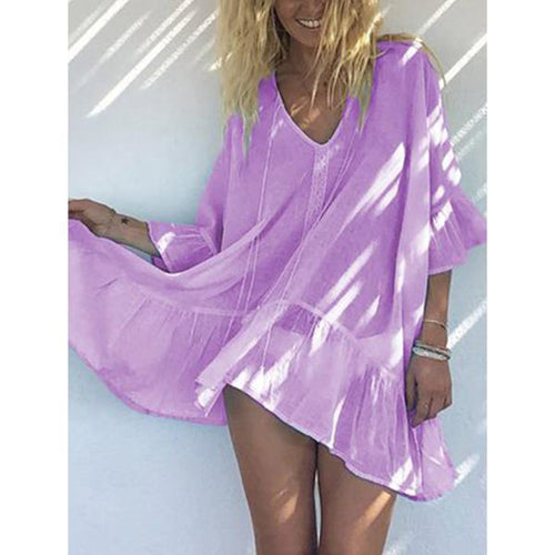 Fashion Solid Color Chiffon Loose Flared Sleeve Shirt