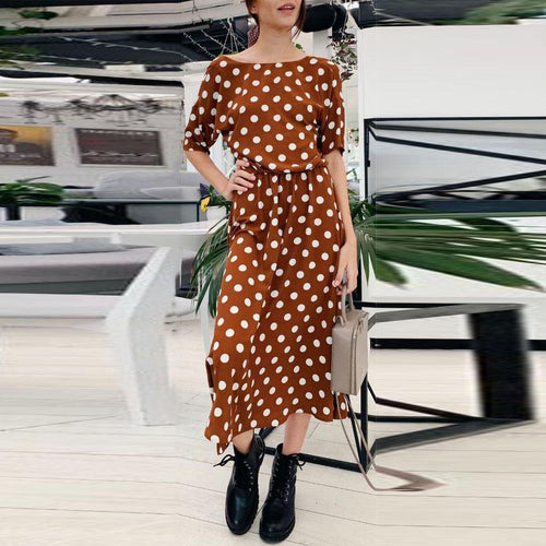 Fashion Casual Back Polka Dot   Long Dress