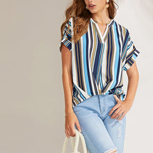 Load image into Gallery viewer, Sexy Striped Chiffon Short Sleeves V-Neck Shirt