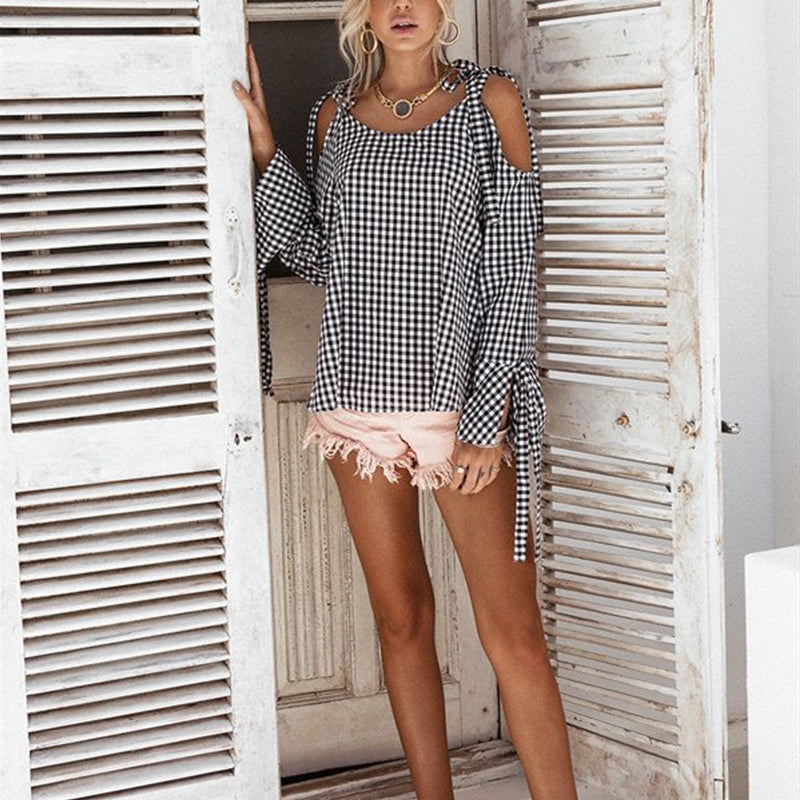 Sexy Plaid Off The Shoulder Long Sleeve Shirt