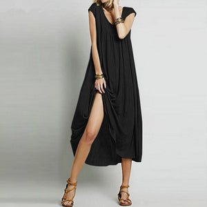Sexy Pure Color Short Sleeve V-Neck Dress