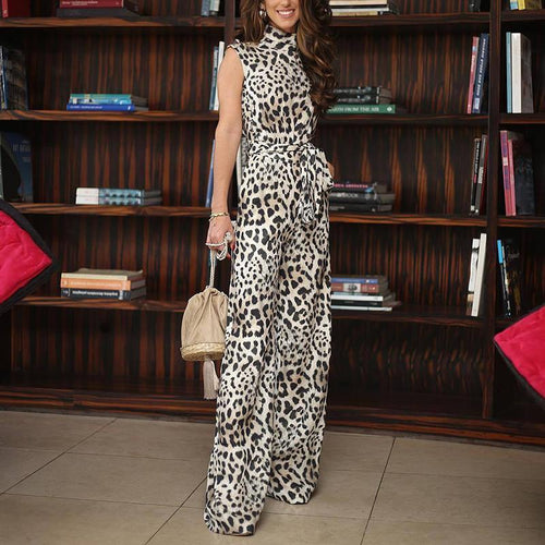 Elegant High Collar Belted Leopard Print Sleeveless Jumpsuit