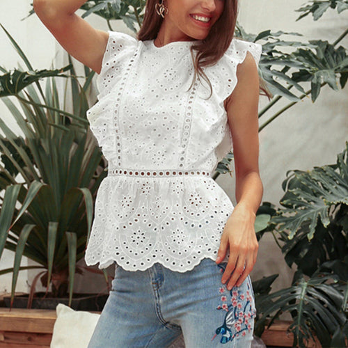 Sexy Fashionable Pure Color Lace Hollowing Out Flouncing Shirt