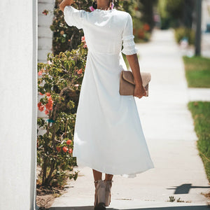 Fashion Sexy Casual Pure Color Short Sleeves Dress