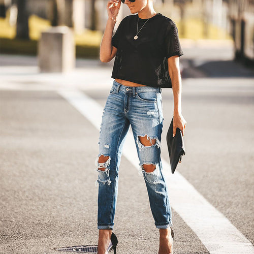 Fashionable Solid Color Long Ripped Jeans