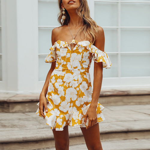 Stylish Sexy Print One-Word Shoulder Dress