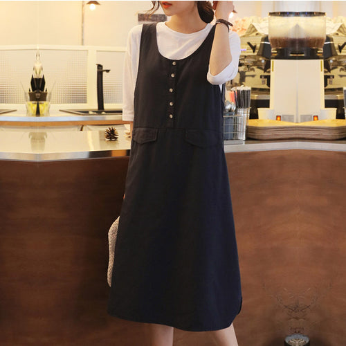 Fashion Sexy Pure Color Round Collar Sleeveless Loose Dress
