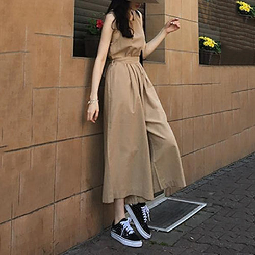 Casual Round Neck Belted Sleeveless Pleated Splicing Jumpsuit