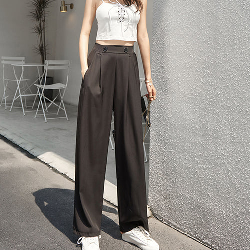 Sexy Fashion Solid Color Wide-Leg Pants
