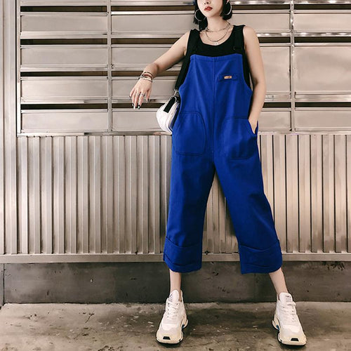 Fashion Pure Colour Splicing Patch Pocket Sleeveless Loose Jumpsuit