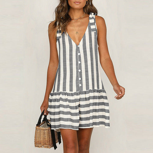 Sexy Stripe Sleeveless Splicing Sling Dress