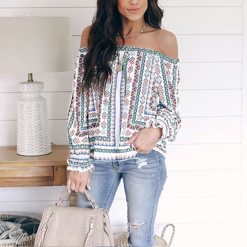Sexy Print Loose Flouncing Sleeve T-Shirt