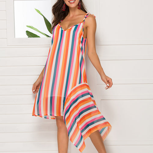 Sexy Stripe V-Neck Sleeveless Irregular Sling Dress