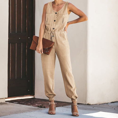 Chiffon Sleeveless V-Collar Waist Jumpsuits